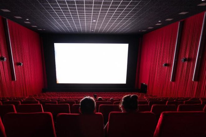 Besucher sitzen in einem Kinosaal.