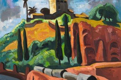 """Die sanften Hügel Italiens: Das Werk """"Monte Palatino"""" von Karl Schmidt-Rottluff aus dem Jahr 1930 ist ebenfalls in der Schau zu sehen."""