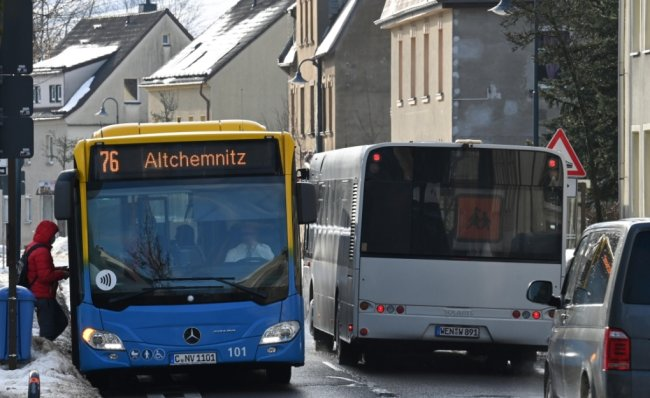 In Erfenschlag, so wie hier im Bild, werden die Busse der Stadtlinie 76 künftig nicht mehr halten. Die Linie soll zwischen Eibenberg, Berbisdorf und Einsiedel-Bahnhof verkehren.