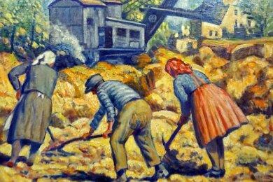 Nachlese von Kohle, im Hintergrund die Häuser des alten Habersbirk/Habartov. Eine Arbeit von David Friedmann von 1947.