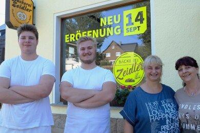 Der Countdown läuft für Bäckermeister Tommy Leidereiter (zweiter von links) sowie für die Frauen hinter dem Ladentisch Michaela Müller, Janet Leidereiter (von rechts) und Geselle Maximilian Ludwig.