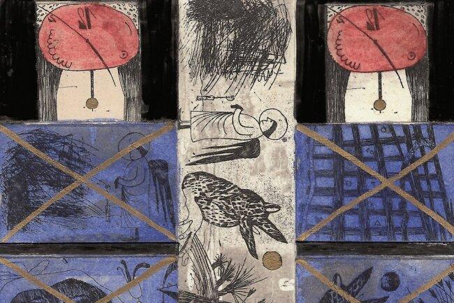 """Hans Heß hat 1994 den Kopf seines Künstlerfreundes Günter Hofmann aus Hainichen auf eine Postkarte unter dem Titel """"Der Große Steuermann oder das Phantom aus Hainichen"""" gesetzt (links). """"Nous y voila"""" (""""Da wären wir"""") aus dem Jahr 2000 (Ausschnitt, Mitte) und """"Fenster nach Schwarzenberg"""" von 1993 (rechts) sind Postkarten-Collagen von Günter Hofmann selbst."""