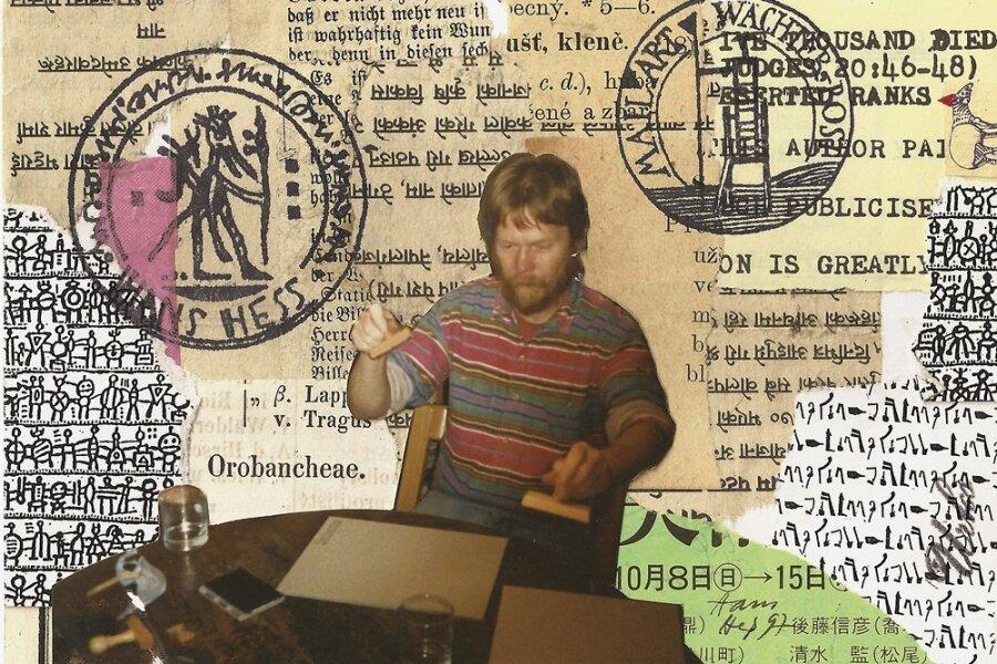 """Der Künstler auf der Postkarte: Hans Heß, der freiberuflich in Schwarzenberg arbeitete, hat sich in dieser Collage selbst ins Spiel gebracht. """"Porträt eines Mailartisten"""" ist sie betitelt und stammt von 1997. Abbildungen (4):  Kunstkeller Annaberg"""