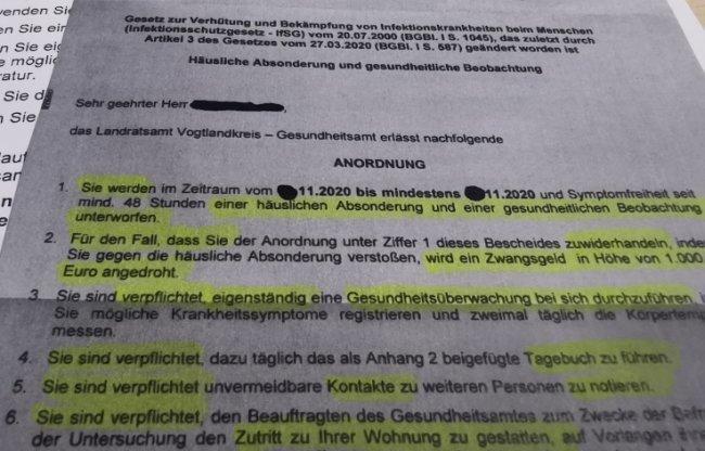 Ein Behördenschreiben an Covid-19-Erkrankte sorgte im Vogtland für Irritationen.