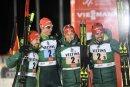Die deutschen Kombinierer gewinnen den Staffel-Wettkampf