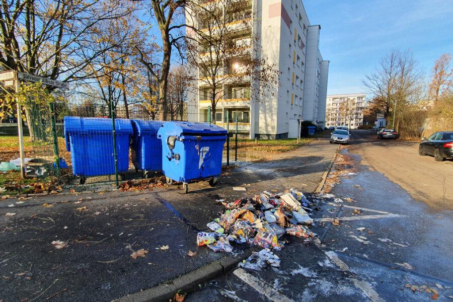 Die Mülltonne an der Dr. Salvador-Allende-Straße wurde durch das Feuer zerstört.