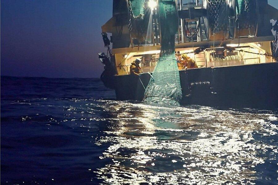 Mit allen Tricks: Schiff beim Dämmerungsfischen.