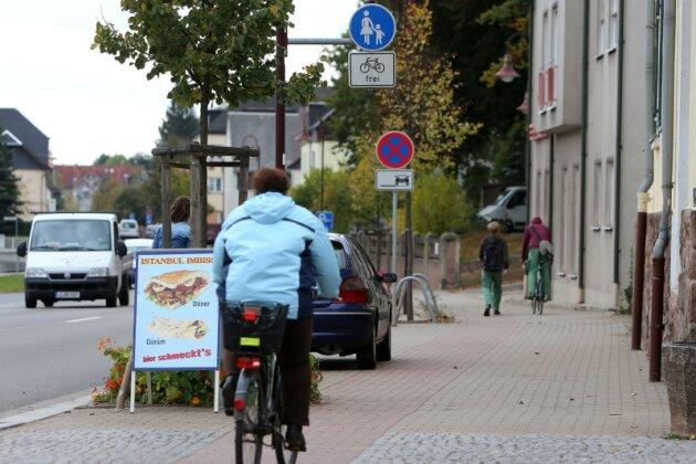 Der Radweg an der Hofer Straße in Oberlungwitz darf nur in eine Richtung befahren werden - nämlich in die der Radlerin auf dem Foto. In den vergangenen Wochen hat die Polizei mehrere Radfahrer, die den Weg auch in der Gegenrichtung befuhren, angehalten und einige sogar bestraft.