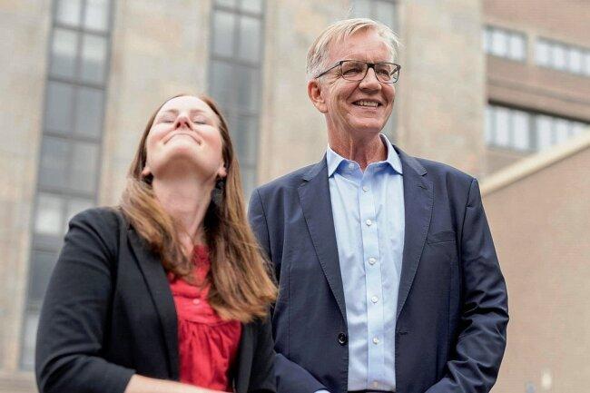 Zwischen der Aussicht aufs Mitregieren und der Sorge um den Einzug in den Bundestag: die Linken-Spitzenkandidaten Dietmar Bartsch und Janine Wissler.