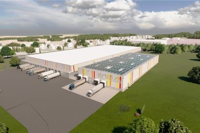 So soll das neue Tiefkühl- und Kühllogistikzentrum einmal aussehen. Die Dachfläche wird mit Solarmodulen bestückt, mit denen ein Großteil des Strombedarfs abgedeckt werden soll. Die größere Halle davor ist das bereits bestehende Logistikzentrum.