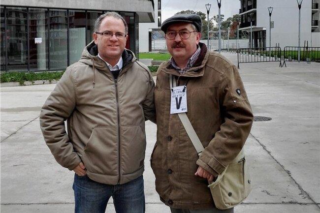 Thomas Croy (r.) mit Juan Manuel Durruty im Olympischen Dorf.