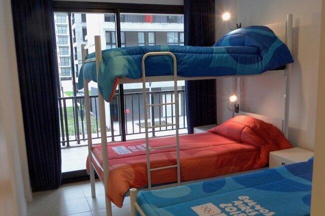Blick in ein Zimmer des Olympischen Jugenddorfs: Die jungen Sportler können kommen, es ist alles bezugsfertig.