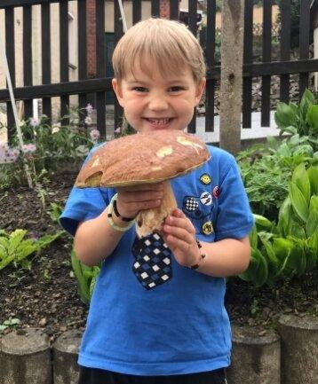 Familie Reichelt aus Sehma ist am Wochenende fündig geworden. Der vierjährige Peter zeigt einen Butterpilz.