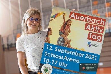 """Claudia Minz ist seit 2018 verantwortlich für das Sportbüro der Stadt Auerbach. In dieser Funktion organisiert sie Projekte wie den """"Auerbacher Aktiv Tag"""", der in der Schlossarena stattfindet."""