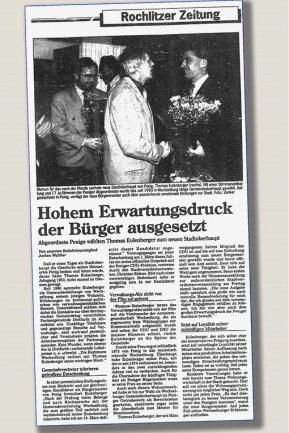 """Der Beginn einer Ära: Am 2. April 1993 wählten die Stadtverordneten Thomas Eulenberger zum neuen Stadtoberhaupt. Auch die """"Freie Presse"""" berichtet damals darüber."""