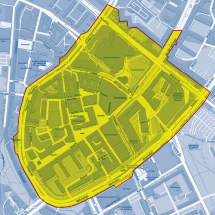 In dem gelb markierten Bereich gilt ab Mittwoch eine Maskenpflicht von Montag bis Samstag zwischen 6 und 22 Uhr.