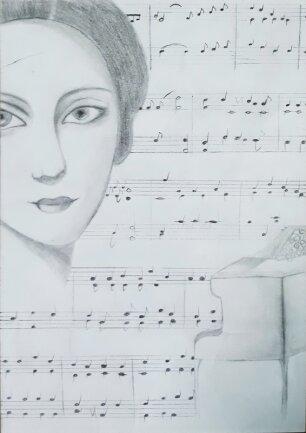 """""""Clara Schumann"""" - Bleistiftzeichnung"""
