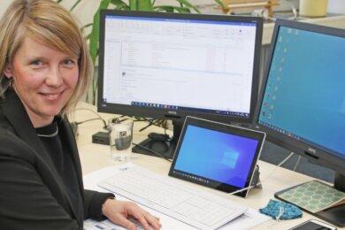 Cindy Krause, neue Geschäftsführerin der IHK Chemnitz, Regionalkammer Mittelsachsen, ist quasi mit angezogener Handbremse in ihre neue Aufgabe gestartet. Pläne für die Zeit nach der Pandemie hat sie genug.