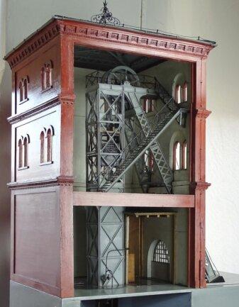 Das Modell des Tiefbauschachtes II in Zwickau, gebaut vor 1908.