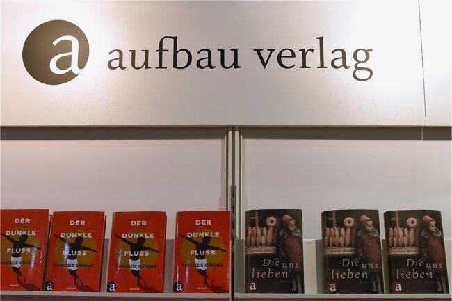 Der Stand vom Aufbau-Verlag auf einer der vergangenen Buchmessen in Leipzig.