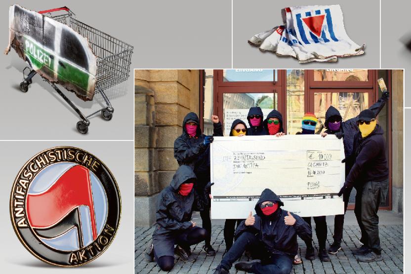 Die Künstlergruppe Peng (Mitte) hat mit einem Teil ihres Projektbudgets für die Gegenwarten-Ausstellung Gegenstände von Personen oder Projekten erworben, die sie der Antifa zurechnet, darunter: ein Antifa-Anstecker, den eine Linken-Politikerin im Bundestag trug (links unten), eine Spraydose, mit der Irmela Mensah-Schramm Hass-Graffiti übersprüht, eine Anklageschrift des Aktionsbündnisse NSU-Komplex auflösen, ein Banner der Vereinigung der Verfolgten des Naziregimes (VVN). Der Einkaufswagen ist eine Reminiszenz an die Silvesterkrawalle in Connewitz, aber kein Original. Symbolisch haben die Peng-Mitglieder deswegen der Antifa einen Scheck über 10.000 Euro ausgestellt. Die Schau ist ab Samstag zu sehen.