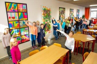 Gemeinsam mit Künstlern haben Schüler der Grundschule Niederwiesa ihren Speisesaal neu gestaltet.