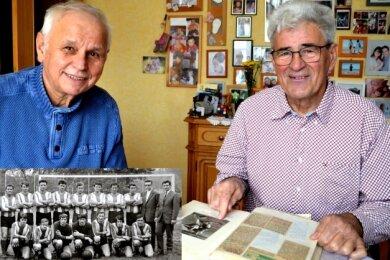 Joachim Gruhle (links) und Werner Bamberger (rechts) feierten mit Motor Wema Plauen 1971 Platz 4 in der 2. Liga der DDR.