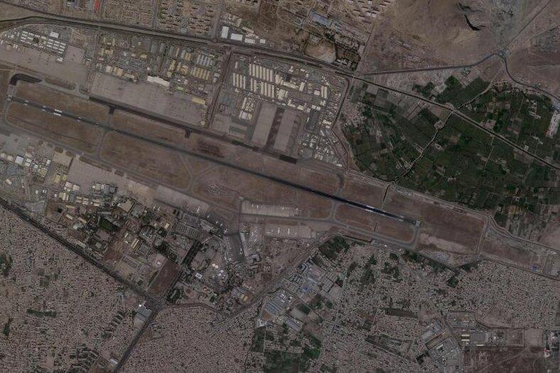 Satellitenbild des Kabul International Airport.