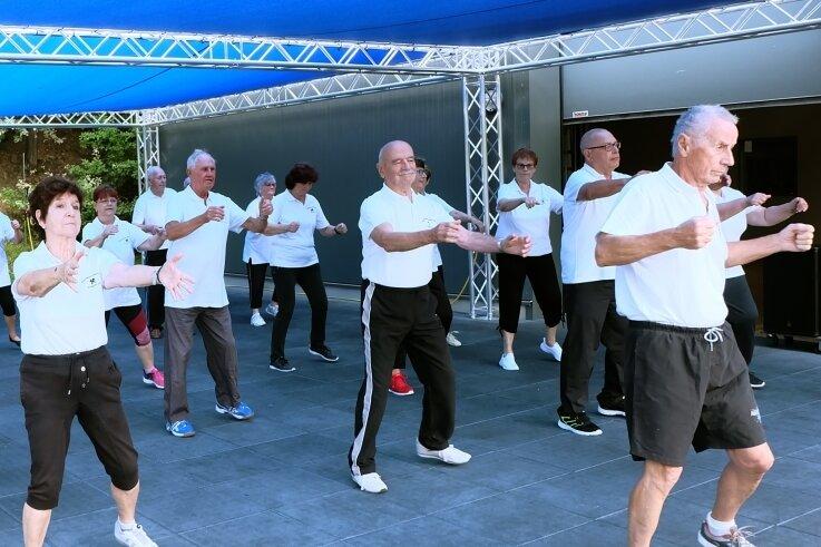Die Seniorengymnastikgruppe von Peter Gebauer (rechts vorn) trainiert derzeit im Fitnessstudio im Oelsnitzer Bürgerpark. Im November wollen die Senioren das Sportzeichen ablegen.