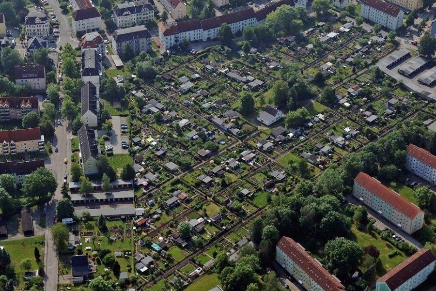 Blick auf Kleingärten in Marienthal. Der Generalpachtvertrag der Stadt Zwickau mit dem dem Stadtverband der Kleingärtner umfasst 87 Anlagen mit einer Fläche von mehr als 203 Hektar.