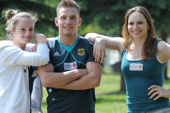 Pauline Schäfer, Andreas Bretschneider und Sophie Scheder (v. l.) gehören zu den Stützen in der deutschen Turn-Nationalmannschaft.