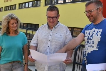 Verantwortliche: Kerstin Zollfrank, OB Mario Horn, Enrico Knüpfer (v.l.)