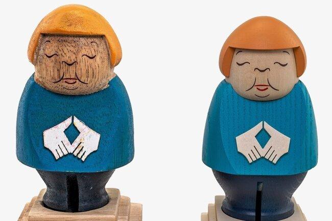 Die beiden Merkel-Figuren im Vergleich: Links die Kopie aus China, rechts das Original aus dem Erzgebirge.