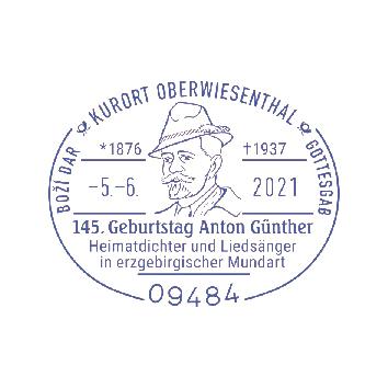 Sonderstempel zum 145. Geburtstag von Anton Günther.