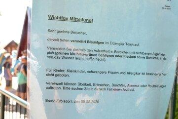 Mit einer Information am Eingang zum Naturbad Erzengler in Brand-Erbisdorf wird auf den Befall des Wassers mit Blaualgen hingewiesen.