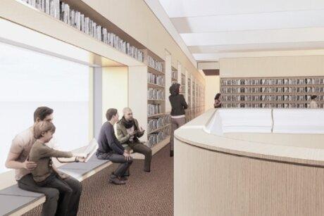 Die Stadtbibliothek soll nach dem Umbau frisch und modern aussehen