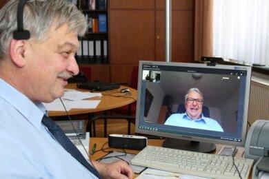 Treff am Computer: Heinrich Kohl (l.) und Geert Mackenroth haben sich virtuell ausgetauscht. Bei dem Thema sind sie auf einer Linie.