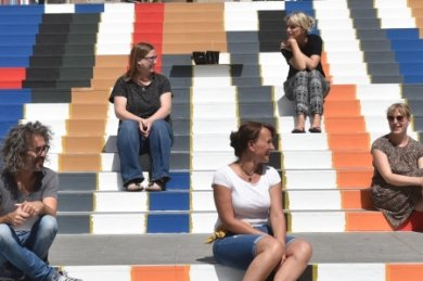 Das Bemalen der Treppe, die von der Augustusburger Straße zum Dresdner Platz führt, war eines der ersten Projekte der Aktion Nimm Platz, die umgesetzt wurden.