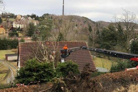 Am Hammerberg in Halsbrücke war ein Baum auf ein Haus gefallen. Bei der Beseitigung half die Oederaner Feuerwehr.