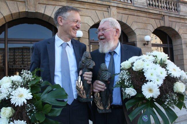 Janez Potocnik und Michael Succow (von links) nahmen am Samstag ihre Nachhaltigkeitspreise der Hans-Carl-Von-Carlowitz-Gesellschaft entgegen. Ebenfalls ausgezeichnet wurde Prinz El Hassan bin Talal von Jordanien. Er blieb aber wegen politischer Termine in seinem Heimatland.