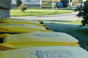 An der Auenstraße 26 wurden vier gelbe Tonnen zunächst auf die Wiese direkt neben dem Wohnhaus gestellt.