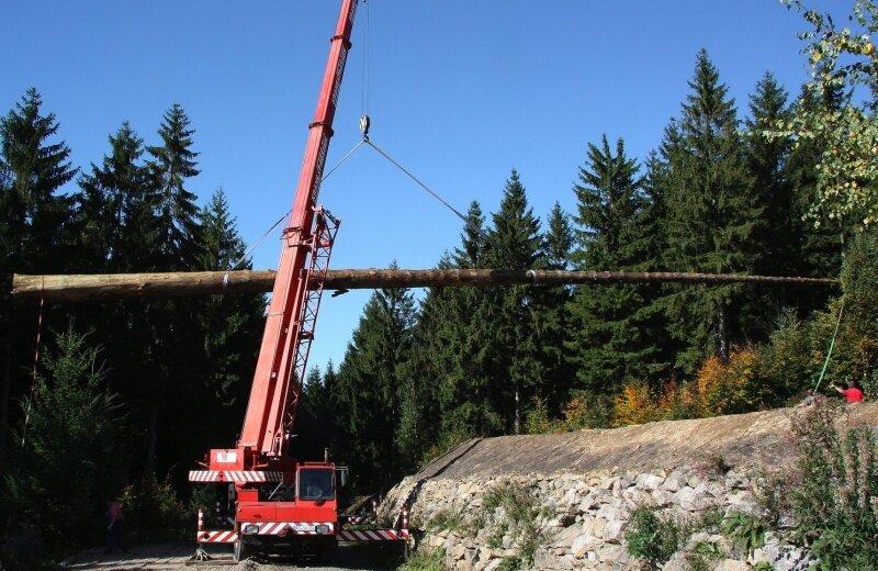 Nur mit einem Kran konnte der riesige Fichtenstamm an seinen Standort, zur Blockhütte von Andreas Martin, gebracht werden.