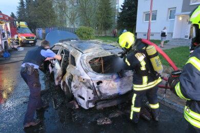 Dieser Wagen ging am Sonntag in Flammen auf.