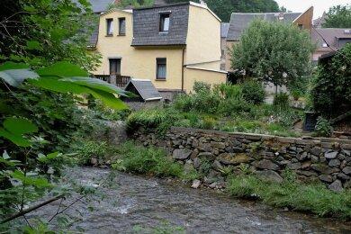 Marode Ufermauern an der Göltzsch parallel zu Mühlgasse und Mühlgraben in Mylau. Ein Teil davon soll Platz machen für eine Profilaufweitung des Flusses. Wo und wie weiß mancher Anwohner bis heute nicht.
