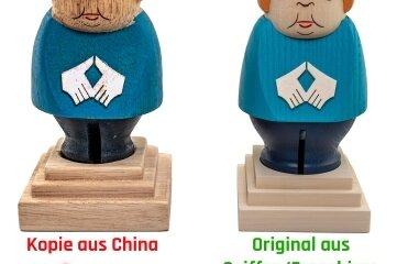 Die beiden Merkel-Figuren im Vergleich.
