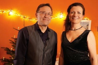 Trompeter Ronald Kick und Moderatorin Ulrike Wülfrath.