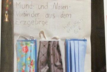 Die Mund- und Nasen-Vorbinder im Eine-Welt-Laden.
