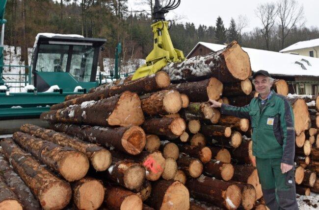Günter Weber ist Seniorchef des Sägewerks in Dorfchemnitz, Ortsteil von Zwönitz. Hier werden Tausende Bäume in Bretter zersägt.