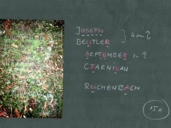 Der Rößnitzer Metall- und Emaillegestalter Peter Luban hat zur Ergänzung der fehlenden Buchstaben am Grab von Joseph Beutler in Plauen bereits Vorarbeiten geleistet.