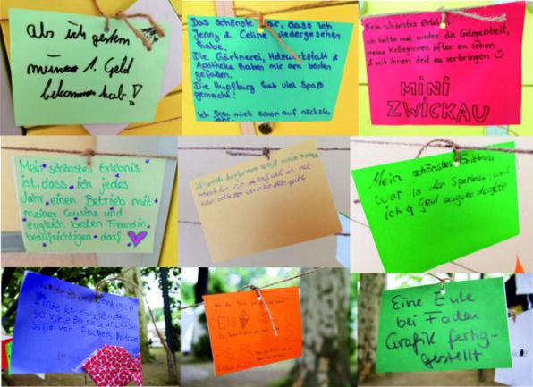 Die Kinder haben aufgeschrieben, was sie schön fanden.